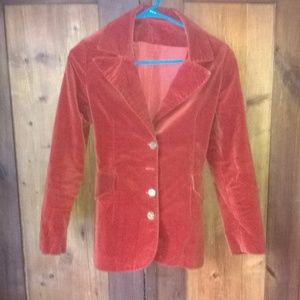 Jackets & Blazers - Vintage Orange Rust Velveteen Coat